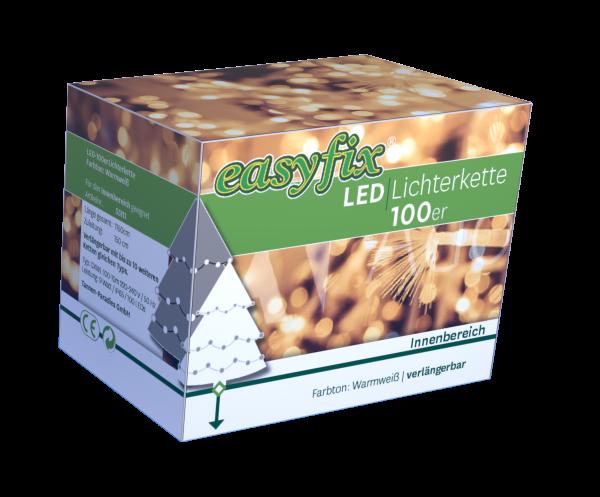 Mini-Lichterkette 100er Innen, LED, warmweiß, verlängerbar IP65