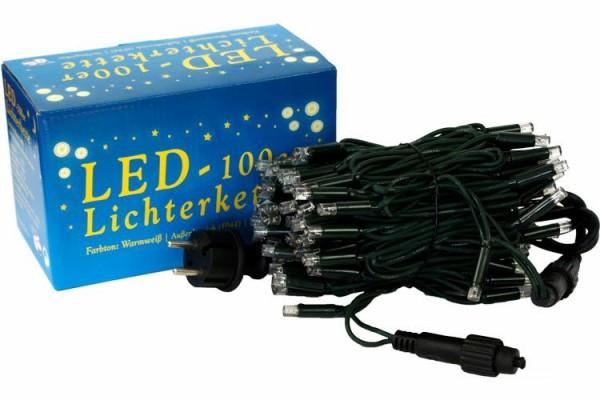 Mini-Lichterkette 100er Außen, LED, warmweiß, verlängerbar