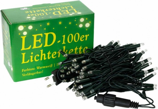 Mini-Lichterkette 100er Innen, LED, warmweiß, verlängerbar