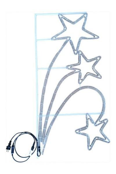 LED Lichtschlauchsterne in Stahlrahmen 144 x 68 cm, Zuleitung 1,5 m, warmweiß