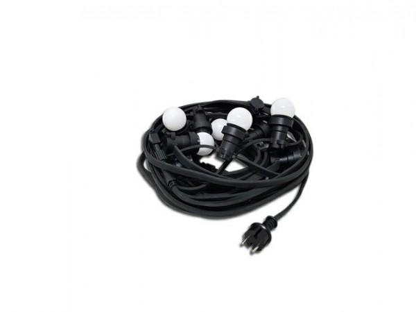 Außenichterkette E27, 12,6 m, 15 Fassungen inkl. 17x3 W LED Glühbirnen, warmweiß verlängerbar, IP65